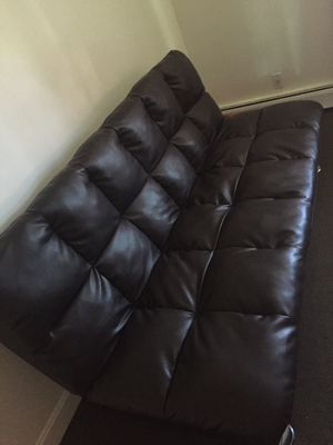 Futon full size bed/leather couch for Sale in Cranston, RI