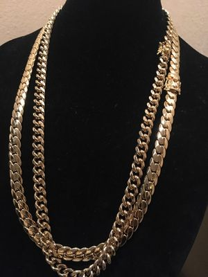 14k thick layers of gold over stainless steel best quality guarantee chains bracelets rings available I deliver for Sale in Miami, FL