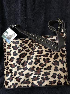 American west Santa Fe spirit cloudy hobo leopard cowhide and chocolate brown for Sale in Archdale, NC
