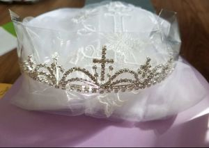 First communion veil with cross embroidery and tiara for Sale in Houston, TX