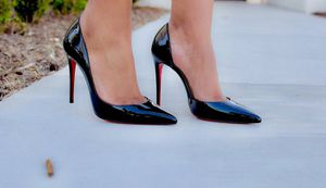 Christian Louboutin 39 US 9 or 8.5 black iriza pumps heels 110 mm red bottoms for Sale in Houston, TX