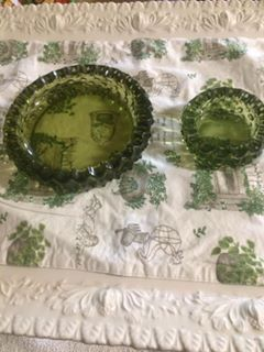 Green glass ash trays/candle holders for Sale in Tacoma, WA