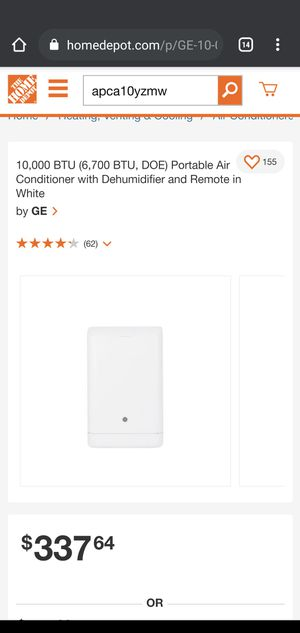 10,000 BTU (6,700 BTU, DOE) Portable Air Conditioner with Dehumidifier and Remote in White by GE for Sale in Gardena, CA