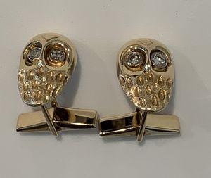 Cufflinks-Owl Head, 14K Yellow Gold w/ Four full-cut SI 2 Diamonds 0.08ct. for Sale in Aliso Viejo, CA
