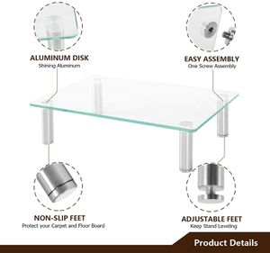 Computer Monitor Stand Desktop Riser, Clear Tempered Glass Brushed Aluminum Legs,15 x 10.2 inch for Sale in Ontario, CA