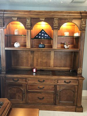 Solid Oak office furniture, with chairs and plenty of storage space and lighting for Sale in Fort Lauderdale, FL