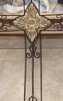 "Large Decorative Carved Cross Dark Finish For Wall Hanging 24""L for Sale in Spartanburg,  SC"