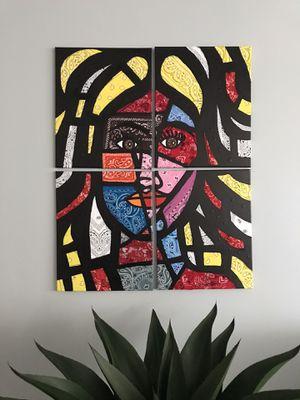 La muñeca de pañuelos art peace in 4 canvas for Sale in Miami, FL