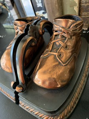 Copper Baby Shoe Bookends for Sale in Huntington Beach, CA
