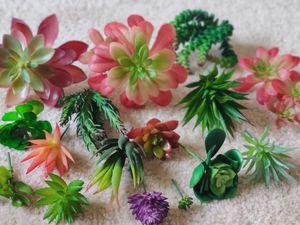 Decor Set of 16 Artificial Succulent Plants Unpotted – Premium Faux Succulents Bulk – Assorted Feaux Succulent Picks and Face Cactus Plants for Sale in Daniels, MD