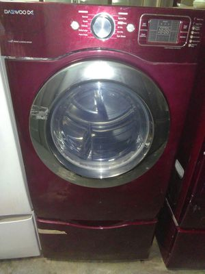 Red daewood washer and dryer set w pedestal for Sale in Santa Monica, CA