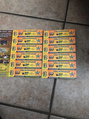 Paint ball tickets 12 for Sale in Lakewood, CA
