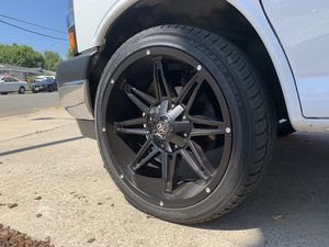 "Almost New 22"" Wheels (Rims) Mayhem Rampage 8090 Matte Black 22 x 9.5 (8x165.1) 8 lug -6mm offset for Sale in Poway, CA"