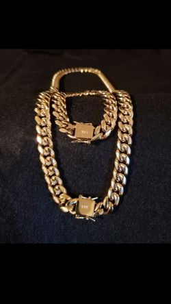 14k gold plated Cuban link chain and bracelet...... for Sale in Hollywood,  FL