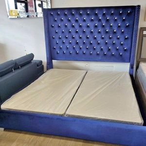 """(New In Boxes) Queen Size Blue Velvet 71"""" High Crystal Tuft Bed Frame***NO BOX SPRINGS for Sale in Atlanta, GA"""