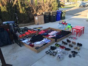 Toys , clothes, shoes, baby items , mirror , changing table , bed for Sale in Fontana, CA
