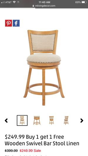 Wooden swivel bar stools $249 buy 1 get 1 free for Sale in Orlando, FL
