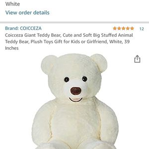 NEW Coicceza Giant Teddy Bear, Cute and Soft Big Stuffed Animal Teddy Bear, Plush Toys Gift for Kids or Girlfriend, White, 39 Inches for Sale in Queens, NY