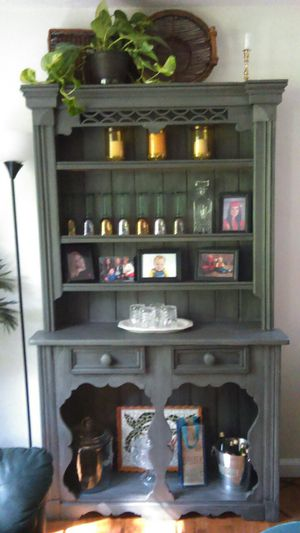 Farmhouse Antique cabinet solid wood 47x80 14.5 deep with grey chauk paint for Sale in Lithia Springs, GA