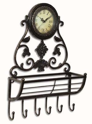 Metal Wall Clock with Hangers and Basket - Home Decor for Sale in Grand Prairie, TX
