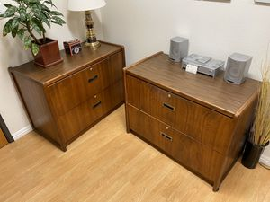 Wide Lateral File Cabinets Medium Brown Solid Wood - 4 Available for Sale in Los Angeles, CA