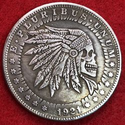 Indian Skull Tibetan Silver Coin. First $20 Offer Automatically Accepted. Shipped Same Day for Sale in Damascus,  OR