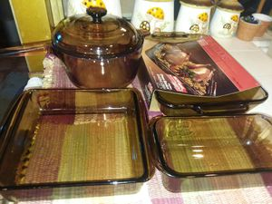 CorningWare Corning Pyrex Amber cooking pot baking dish casserole bread muffin Amber Anchor Hocking set Lot 4 pieces for Sale in Lakewood, CA