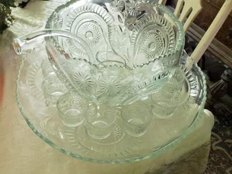 Large Glass Punch Bowl w/tray, 12 Cups, and 1 Ladle
