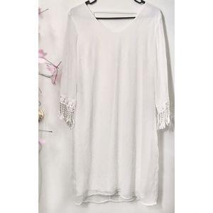 (Size M) Boho Lace Fringe Long-Sleeved White Dress for Sale in Lenexa, KS