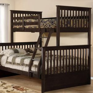 Brown wooden Twin over full bunk bed for Sale in New York, NY
