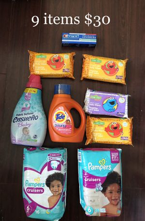 2 Pampers Diapers (size 6); 1 Tide; 1 Ensueno Fabric Softner; 288 Baby Wipes (72 x 4); 1 Toothpaste: 9 Items $30 for Sale in Monterey Park, CA