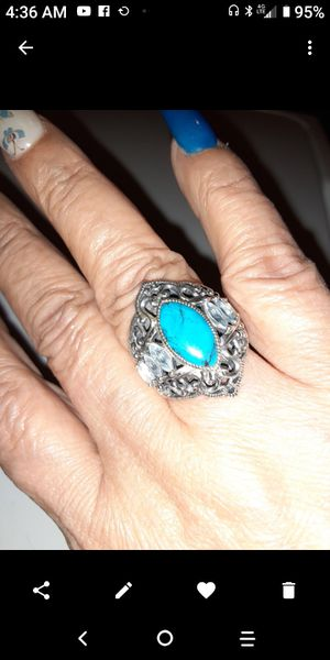925.Silver. turquoise and blue topaz ring size 7. for Sale in Fullerton, CA