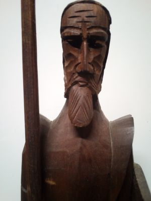 Don Quixote, Man of La Mancha, Carved Wood Sculpture on Base for Sale in Rochester, WA