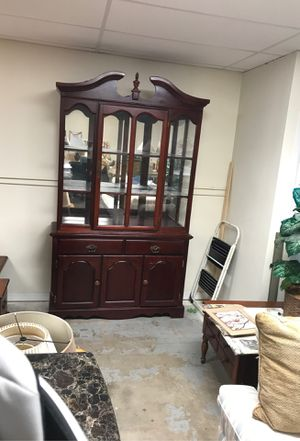 Nice solid wood 1970s China cabinet with four shelves two drawers and lots of storage also has a light for Sale in Jacksonville, FL