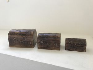 Hand carved wooden jewelry chest ( 3 boxes) for Sale in San Juan Capistrano, CA