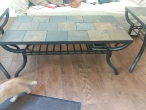 (3 ) piece set real (slate) top , black iron legs for Sale in Palm Coast, FL
