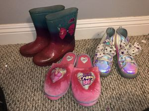Jojo rain boots slippers and tee shoes for Sale in Riverside, CA