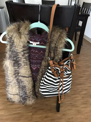 faux fur vest and bag for Sale in Renton, WA