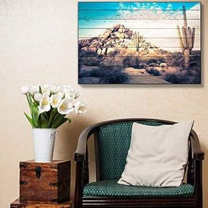 ((FREE SHIPPING)) painted desert scene on wood grain background - rustic sagebrush cactus boulders - blue sky over rural landscape Painting like print for Sale in Gibson Island, MD