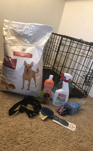 Training crate (smaller-medium sized dog), unopened dry dog food, Nature's Miracle Spray, Dog shampoo, Dog brush, poop bags, step in harness for Sale in Denver, CO