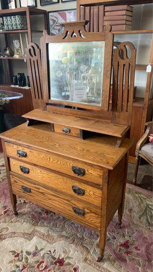 Antique oak mini dresser with mirror for Sale in West Covina, CA