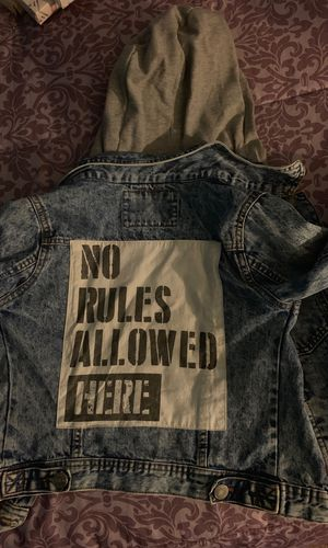 Kids ZARA no rules allowed Jean jacket with hoodie build in for Sale in Washington, DC