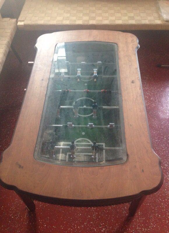 Very rare Foos ball glass table