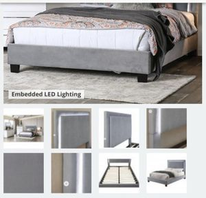 Furniture of America bed frame queen size , gray with cute led lights for Sale in Glendale, CA