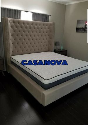 BRAND NEW BED FRAME KING COMES IN BOX WITH EURO PILLOW TOP MATTRESS AND BOX SPRING INCLUDED $899🔊🔊🔊🔊AVAILABLE FOR SAME DAY DELIVERY OR PICK UP for Sale in Compton, CA