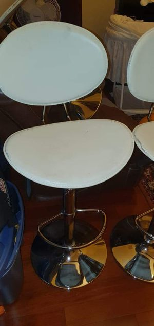 3 stainless steal white adjustable chair or bar stools make me offer for Sale in Hanover Park, IL