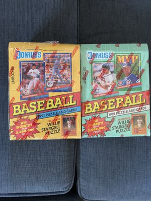 2 Boxes! DONRUSS Baseball Card Boxes Sealed from 1991 for Sale in Chino, CA