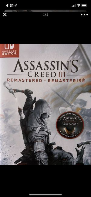 Nintendo switch assassin's creed 3 for Sale in Murrieta, CA