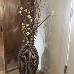 Bamboo Vase And dried twigs with White Wooden Flowers for Sale in Rancho Cucamonga, CA