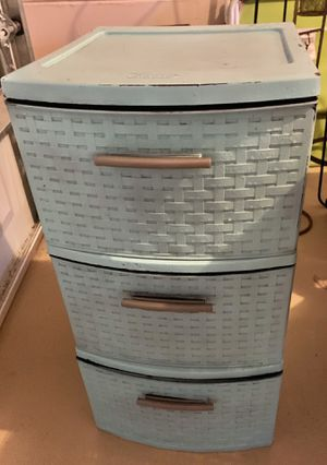 Turquoise weaves plastic 3 drawer storage for Sale in New Port Richey, FL